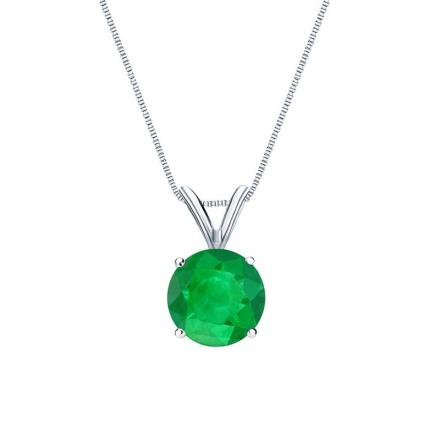 Certified 18k White Gold 4-Prong Basket Round Green Emerald Gemstone Solitaire Pendant 0.25 ct. tw. (Green, AAA)