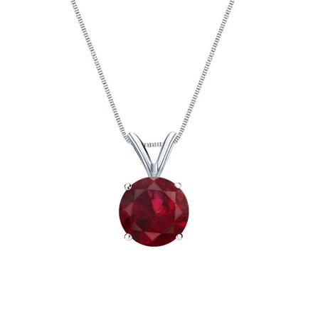 Certified 18k White Gold 4-Prong Basket Round Ruby Gemstone Solitaire Pendant 0.75 ct. tw. (Red, AAA)