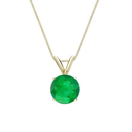 Certified 18k Yellow Gold 4-Prong Basket Round Green Emerald Gemstone Solitaire Pendant 0.33 ct. tw. (Green, AAA)