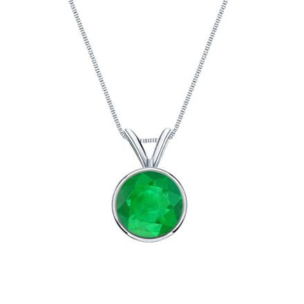 Certified 18k White Gold Bezel Round Green Emerald Gemstone Solitaire Pendant 0.25 ct. tw. (Green, AAA)