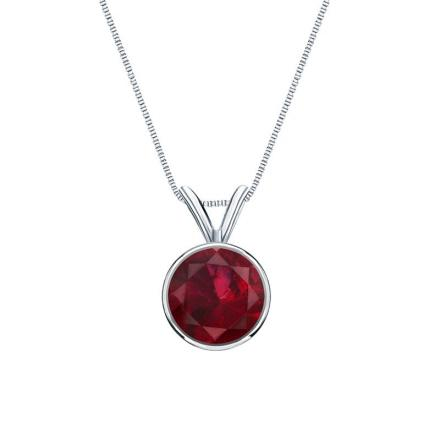 Certified 18k White Gold Bezel Round Ruby Gemstone Solitaire Pendant 0.75 ct. tw. (Red, AAA)