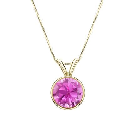 Certified 14k Yellow Gold Bezel Round Pink Sapphire Gemstone Solitaire Pendant 0.33 ct. tw. (Pink, AAA)