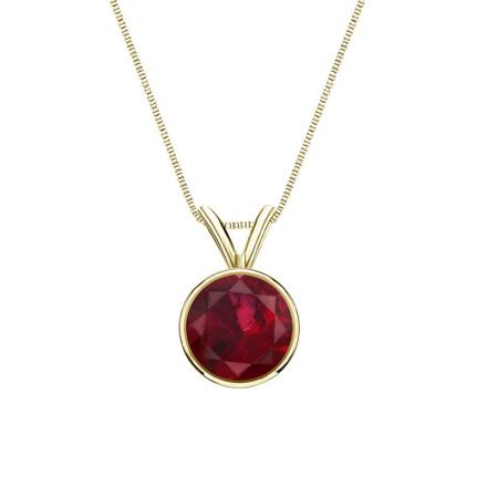 Certified 18k Yellow Gold Bezel Round Ruby Gemstone Solitaire Pendant 0.33 ct. tw. (Red, AAA)