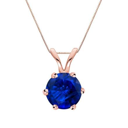 Certified 14k Rose Gold 6-Prong Round Blue Sapphire Gemstone Solitaire Pendant 0.75 ct. tw. (Blue, AAA)