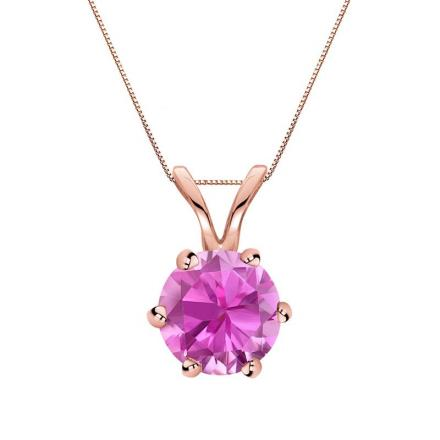 Certified 14k Rose Gold 6-Prong Round Pink Sapphire Gemstone Solitaire Pendant 0.33 ct. tw. (Pink, AAA)