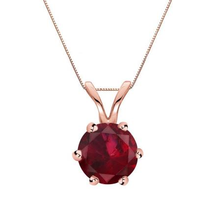 Certified 14k Rose Gold 6-Prong Round Ruby Gemstone Solitaire Pendant 0.33 ct. tw. (Red, AAA)