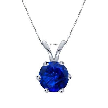Certified 14k White Gold 6-Prong Round Blue Sapphire Gemstone Solitaire Pendant 0.75 ct. tw. (Blue, AAA)