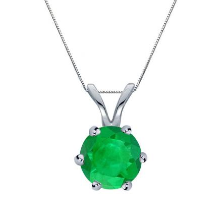 Certified 18k White Gold 6-Prong Round Green Emerald Gemstone Solitaire Pendant 0.25 ct. tw. (Green, AAA)
