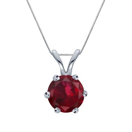 Certified 18k White Gold 6-Prong Round Ruby Gemstone Solitaire Pendant 0.33 ct. tw. (Red, AAA)