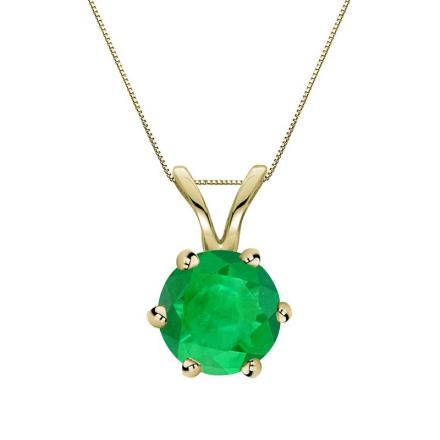 Certified 18k Yellow Gold 6-Prong Round Green Emerald Gemstone Solitaire Pendant 0.25 ct. tw. (Green, AAA)