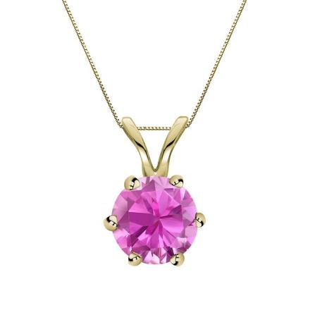 Certified 14k Yellow Gold 6-Prong Round Pink Sapphire Gemstone Solitaire Pendant 0.33 ct. tw. (Pink, AAA)