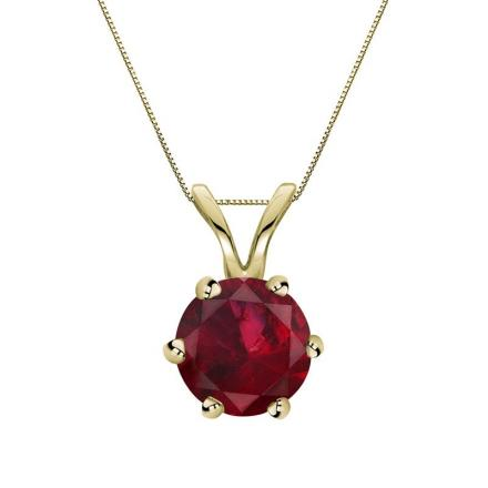 Certified 18k Yellow Gold 6-Prong Round Ruby Gemstone Solitaire Pendant 0.33 ct. tw. (Red, AAA)