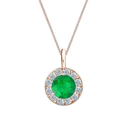 Certified 14k Rose Gold Halo Round Green Emerald Gemstone Pendant 0.50 ct. tw. (AAA)