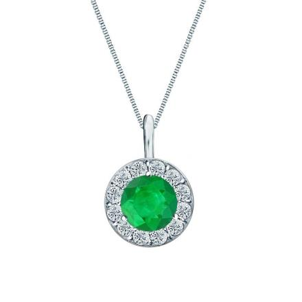 Certified 14k White Gold Halo Round Green Emerald Gemstone Pendant 0.50 ct. tw. (AAA)