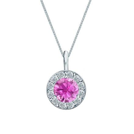 Certified 14k White Gold Halo Round Pink Sapphire Gemstone Pendant 0.50 ct. tw. (AAA)