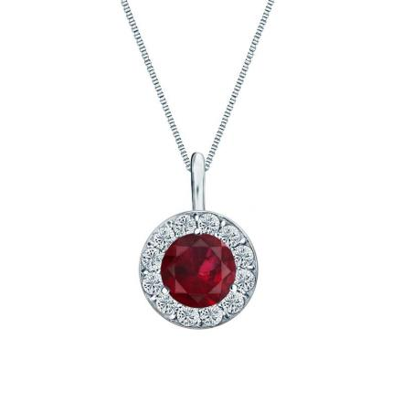 Certified Platinum Halo Round Ruby Gemstone Pendant 0.75 ct. tw. (AAA)