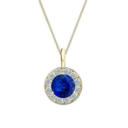 Certified 14k Yellow Gold Halo Round Blue Sapphire Gemstone Pendant 0.75 ct. tw. (AAA)