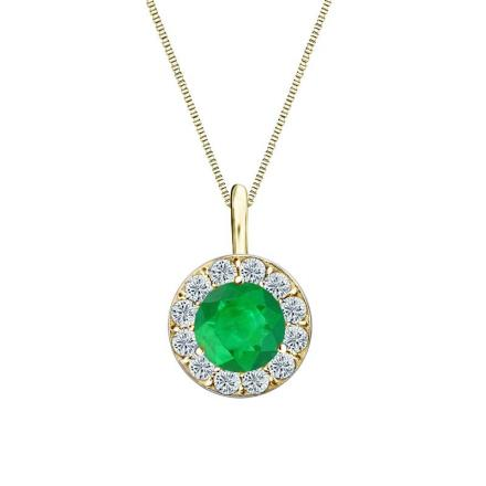 Certified 14k Yellow Gold Halo Round Green Emerald Gemstone Pendant 0.50 ct. tw. (AAA)