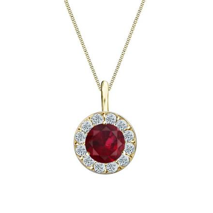 Certified 18k Yellow Gold Halo Round Ruby Gemstone Pendant 1.00 ct. tw. (AAA)