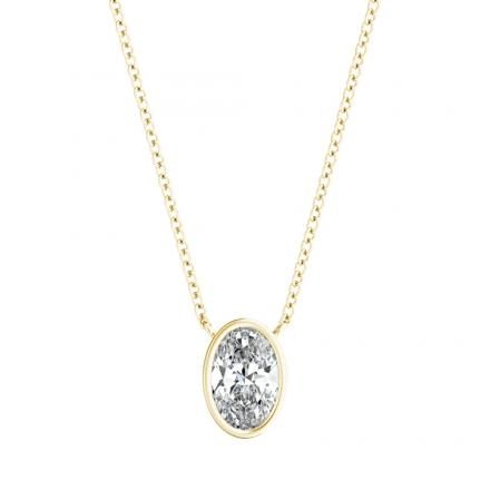 Lab Grown Diamond Solitaire Pendant Oval 0.40 ct. tw. (G-H, VS1-VS2) in 14k Yellow Gold Bezel Setting