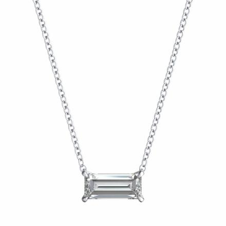 Lab Grown Diamond Solitaire Pendant Baguette 0.50 ct. tw. (G-H, VS1-VS2) in 14k White Gold