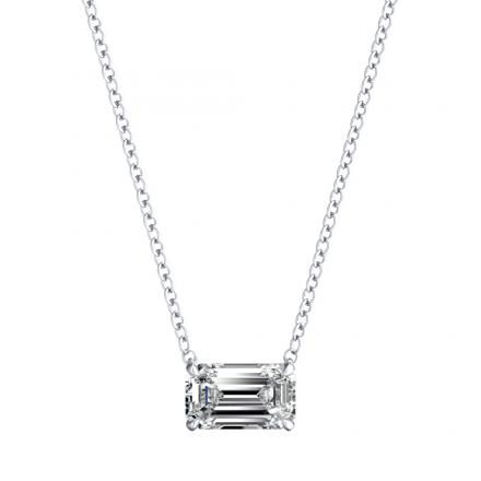 Lab Grown Diamond Solitaire Pendant Emerald 0.50 ct. tw. (E-F, VS1-VS2) in 14k White Gold