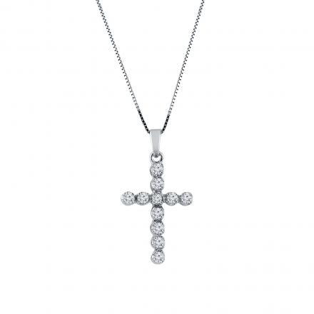 Certified 14k White Gold Round Diamond Cross Pendant Necklace (3/8 cttw)