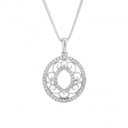 Certified 14k White Gold Round Diamond Pendant Necklace (1/3 cttw)