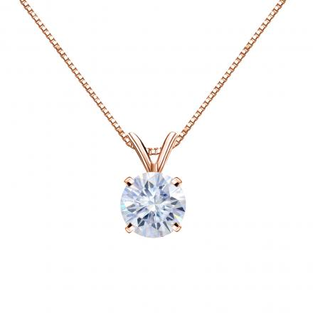 Moissanite Solitaire Pendant Round 1.00 TGW 6.5 mm (G-H, VS1-VS2) in 14K Rose Gold 4-Prong
