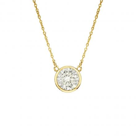 Moissanite Solitaire Pendant Round 1.00 TGW 6.5 mm (G-H, VS1-VS2) in 14K Yellow Gold Bezel