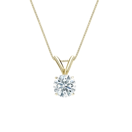 18k Yellow  Gold 4-Prong Basket Certified Hearts & Arrows Diamond Solitaire Pendant 0.50 ct. tw. (H-I, I1-I2)
