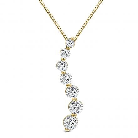Lab Grown Diamond Journey Pendant 1.00 ct. tw. (E-F, VS) in 14K Yellow Gold