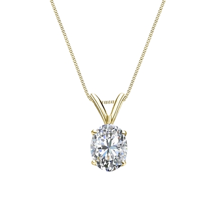 14k Yellow Gold 4-Prong Basket Certified Oval-Cut Diamond Solitaire Pendant 0.75 ct. tw. (I-J, I1)