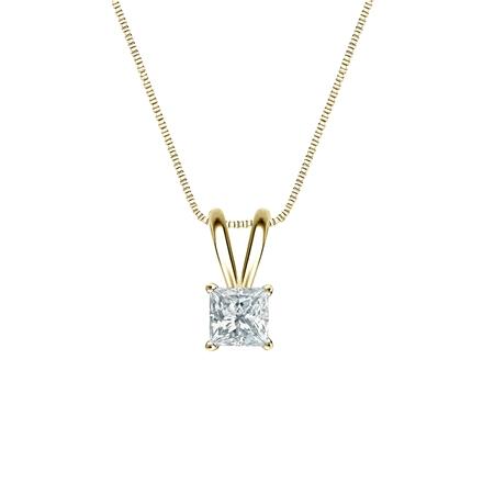 14k Yellow Gold 4-Prong Basket Certified Princess-Cut Diamond Solitaire Pendant 0.25 ct. tw. (I-J, I1-I2)