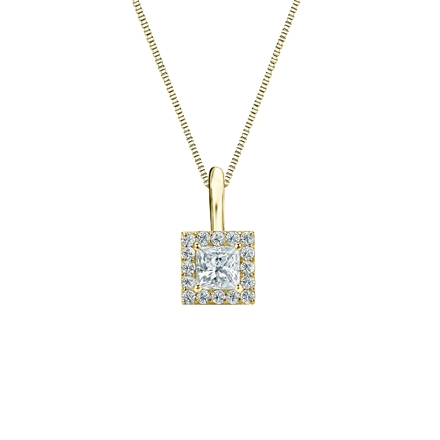14k Yellow Gold Certified Princess-Cut Diamond Halo Pendant 0.25 ct. tw. (G-H, VS2)