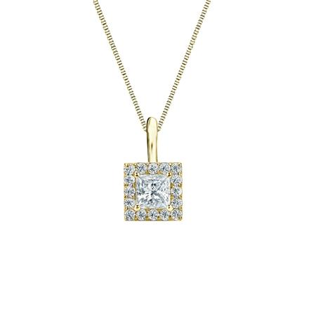 14k Yellow Gold Certified Princess-Cut Diamond Halo Pendant 0.38 ct. tw. (I-J, I1-I2)