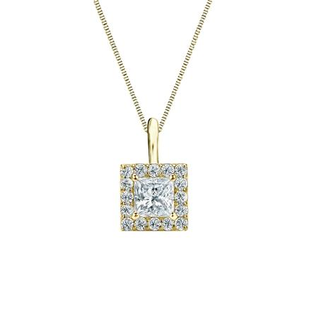 14k Yellow Gold Certified Princess-Cut Diamond Halo Pendant 0.50 ct. tw. (I-J, I1-I2)
