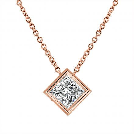IGI Certified Lab Grown Diamond Solitaire Pendant Princess-Cut 1.50 ct. tw. (F, VS2-SI1) in 14K Rose Gold Bezel Set