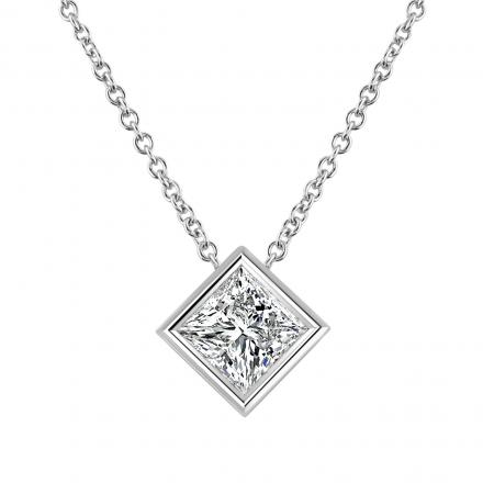 Princess-Cut Diamond Solitaire Pendant 0.38 ct. tw. (I-J, VS1-VS) in 14K White Gold Bezel Set