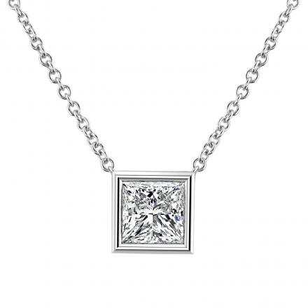 IGI Certified Lab Grown Diamond Solitaire Pendant Princess-Cut 1.00 ct. tw. (E-F, VVS) in 14K White Gold Bezel Set
