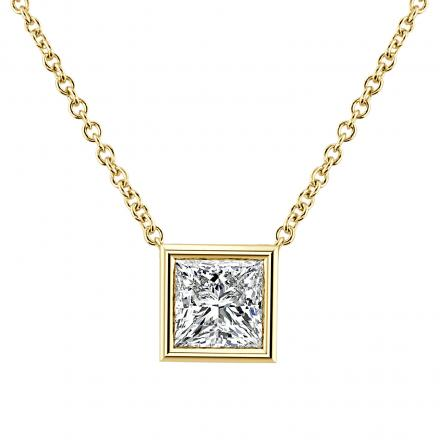 Diamond Solitaire Pendant Princess-Cut  0.38 ct. tw. (I-J, VS1-VS2) in 14K Yellow Gold Bezel Set