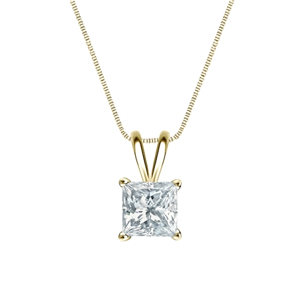 14k Yellow Gold 4-Prong Basket Certified Princess-Cut Diamond Solitaire Pendant 1.00 ct. tw. (I-J, I1-I2)