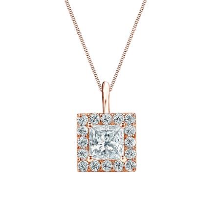 14k Rose Gold Certified Princess-Cut Diamond Halo Pendant 1.00 ct. tw. (I-J, I1-I2)