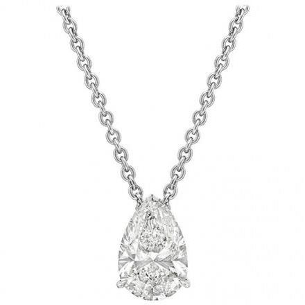 Lab Grown Diamond Solitaire Pendant Pear-Cut 0.30 ct. tw. (F-G, VS) in 14K White Gold