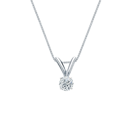 14k White Gold 4-Prong Basket Certified Round-Cut Diamond Solitaire Pendant 0.13 ct. tw. (J-K, I2)