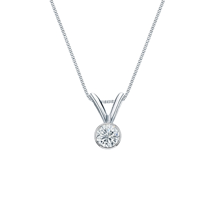 Platinum Bezel Certified Round-Cut Diamond Solitaire Pendant 0.13 ct. tw. (I-J, I1-I2)