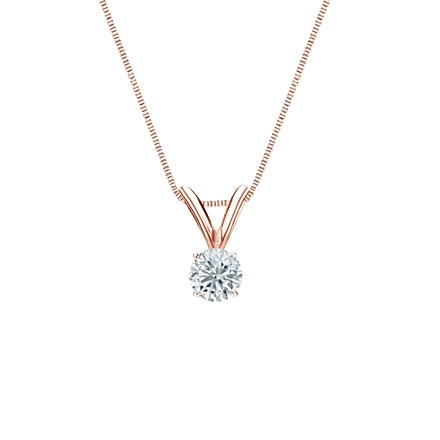 14k Rose Gold 4-Prong Basket Certified Round-Cut Diamond Solitaire Pendant 0.17 ct. tw. (I-J, I1-I2)