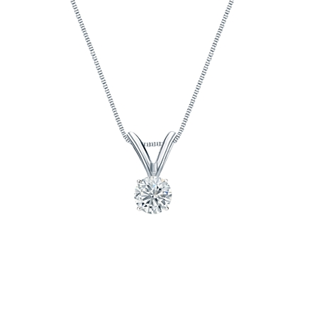 14k White Gold 4-Prong Basket Certified Round-Cut Diamond Solitaire Pendant 0.17 ct. tw. (G-H, SI1)