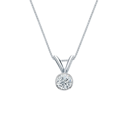 18k White Gold Bezel Certified Round-Cut Diamond Solitaire Pendant 0.17 ct. tw. (G-H, SI1)