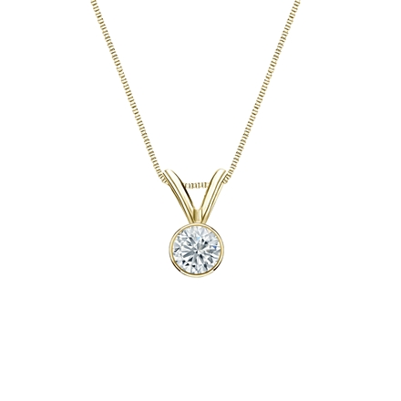 18k Yellow Gold Bezel Certified Round-Cut Diamond Solitaire Pendant 0.17 ct. tw. (G-H, SI1)